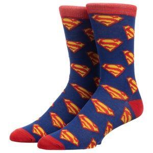 Superman Logo Men's Crew Socks 1 Pair DC Comics